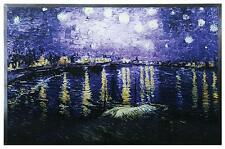 "Van Gogh ""STARRY NIGHT OVER THE RHONE"" RIVER Stained Art Glass Panel Display"