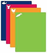 NEW Flexible Cutting Mat with Icons Set of 4 Multi Color Chopping Board Mince