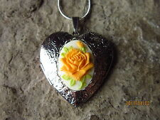 YELLOW ROSE CAMEO SILVER PLATED HEART LOCKET - UNIQUE, HANDMADE