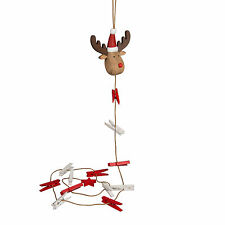 Rudi The Red Nose Reindeer Red and White Christmas Peg Card Photo Holder * Gift