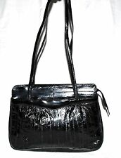 Vintage Genuine Eel Skin Black Soft 4 Section Shoulder Bag w/ Black Suede Lining