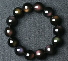 Natural Rainbow Black Obsidian Gemstone Round Beads Stretch Bracelet AAAA 14 mm