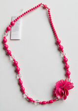 New Gymboree Equestrian Club Line Pink and Clear Beaded Necklace One Size NWT