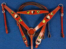 NWT Green Zebra Heart Bridle Headstall Breastcollar Leather Western Horse Tack
