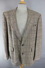 Oscar Jacobson Vintage 70's luz marrón comprobado Pure Lambswool Tweed chaqueta 42 Pulgadas