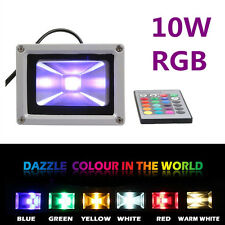 10W RGB LED Outdoor Garden Landscape Flood Light Waterproof +IR Remote AC85-245V