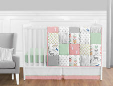 Bumperless Coral Mint White Grey Deer Forest Baby Girl Nursery Bedding Crib Set