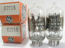 2 matched 1970's GE 5-Star 6211A tubes - Gray Plates, Clear-Top, Side OO Getters