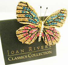 "Joan Rivers Multi Color Butterfly Brooch     2""    Blue/Pink"