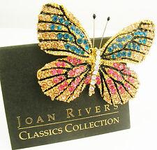 """Joan Rivers Multi Color Butterfly Brooch     2""""    Blue/Pink"""