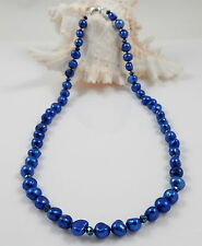 Midnight Blue Baroque Freshwater Pearl Necklace & Magnetic Clasp 18''