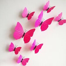 12pc Decorative 3D butterfly wall stickers with Magnet,removable for Home (Pink)