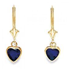 Women/Children 14K YG Sapphire September Birthstone Dangle Heart Shape Earrings
