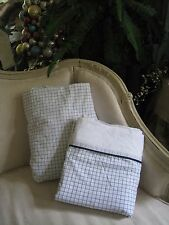 """NAUTICA""""TATTERSAL""""BLUE & WHITE COUNTRY CHECKERED DOUBLE FLAT & FITTED SHEET #140"""