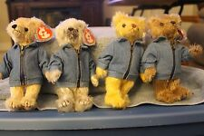 TY ATTIC TREASURES SET OF FOUR BEARS WITH FLAGS  MWMT IN TAG PROTECTORS