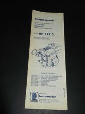 TECUMSEH BH 173 G Engines Owners manual & Operating Instructions