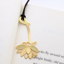 Golden LOTUS FLOWER 18k gold plated BOOKMARK with leather string for gift item