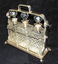 Antique Style Silver Plated TANTALUS 3 Decanter Bottles & Sterling Silver Necks