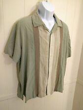 Men's Silk Shirt Axist XL 100% Shirt  xl Green/Tan Cream