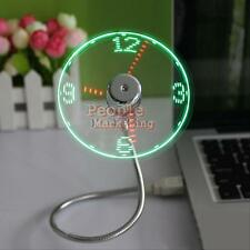 Mini Flexible Gooseneck LED Clock USB Fan For PC Notebook Time Display Cool #P
