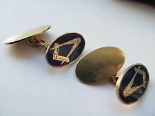 Hallmarked English 9ct gold Masonic cuff links
