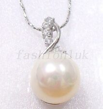 White Gold Plated Big 12mm Shell Pearl Xmas Birthday Pendant Necklace Gift