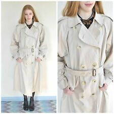 Vintage Burberry Trench Coat/Rain Jacket/Mac Check Lined Beige/Cream 16 Ex Long