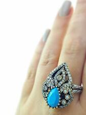 Turkish Handmade 925 Sterling Silver Jewelry Turquoise Ring Size 9.5 R1569