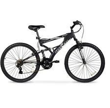 "Men's Mountain Bike Black Aluminum Frame Bicycle Shimano 26"" Full Suspension"