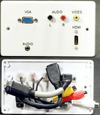 AV Wall Plate, HDMI / VGA / 3.5mm Jack / 3 Phono Audio Video Sockets with tails