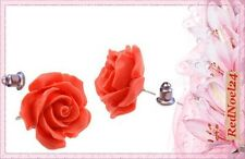 LOVELY ROUND CORAL ROSE FLOWER STUDS DARK RED 925 SILVER PLATED EARRINGS