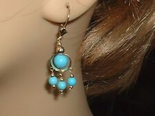 VINTAGE 14K STUNNING GENUINE TURQUOISE LEVER BACK DANGLING EARRINGS 7 CTW