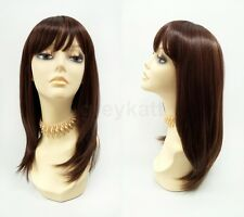 Brown & Copper Mix Long Straight Heat Resistant Wig w/ Bangs Synthetic 17""