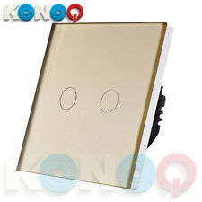 KONOQ Luxury Glass Panel Touch LED Light Smart Switch ON/OFF, Gold, 2Gang/1Way