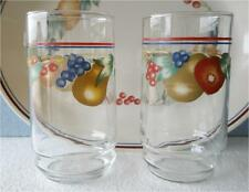 "2 Corelle ABUNDANCE Fruit HARVEST 14 oz GLASS Glasses 5 3/4"" Tumblers *RARE Find"