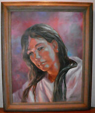 Vintage Original Oil Painting Female SELF? Portrait Woman Somber Signed 18X23 in