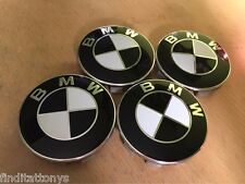 BRAND NEW 4 Pcs BMW Emblem Logo Badge Hub Wheel Rim Center Cap 68mm Set Black
