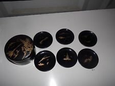 Vintage Set Of 6 Asian Hard Plastic Coasters Cup Holders & Case Rare