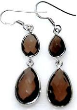 Smoky Quartz Earring Sterling SILVER drop Earrings Genuine Gemstone 925 Jewelry