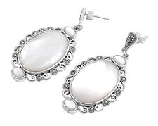 Marcasite Dangle Mother of Pearl Earrings Sterling Silver Vintage Style Jewelry