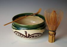 JAPANESE ORIBE TEA CEREMONY BOWL WHISK CHASHAKU Pottery Kensui Bamboo Chasen Set