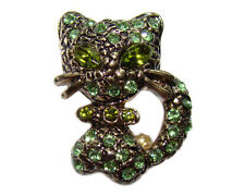 Broche CHAT style Faberge brocheBroche Chaton yeux vert  BROCHE Chat strass vert