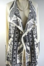 JOHNNY WAS Biya Black/ivory Embroidered Sweater Cardigan Coat JACKET Hobo Chic S