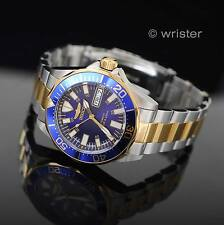 18k Gold IP Invicta Signature AUTOMATIC 2 Tone 24 Jewel Blue Dl $395 Mens Watch