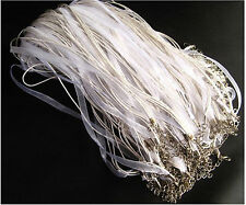 10PCS WHITE Organza Ribbon Necklace Cords Colour Alloy Clasp 45cm + 5cm u