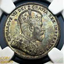 1910 Canada 25c NGC AU55 Toned About Uncirculated Rare Quarter Dollar Coin
