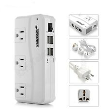 Power Travel Converter Adapter Oversea 220V to 110V w/ 4 USB Fast Charging Port