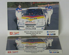 x2 Postcards  Vauxhall Sport Astra GTE 16V Group A  Malcolm Wilson/Ian Grindrod