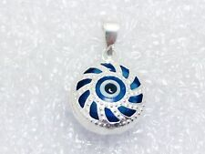 925 Sterling Silver Evil Eye Pendant Necklace Round Blue Glass Bead  Silver Bar