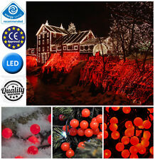 New 13m MAINS POWERED RED BERRY LIGHT CHRISTMAS FAIRY LIGHTS INDOOR/OUTDOOR USE